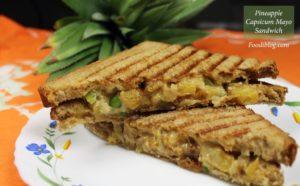 Pineapple and Capsicum Mayo Cream Cheese Sandwich recipe